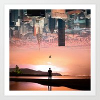 cityscape Art Prints featuring Cityscape by Enkel Dika
