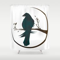 crow Shower Curtains featuring crow by voskovski