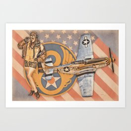 Aviation Pinups - P-51 Mustang Art Print