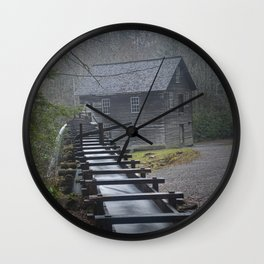 The Old Mingus Mill and Flume in the Great Smoky Mountain National Park in Tennessee Wall Clock