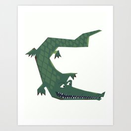 Snapping vintage Alligator Art Print