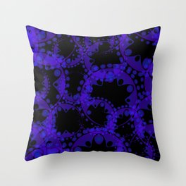 Abstract pattern of purple tentacles and bubbles on a black background. Throw Pillow
