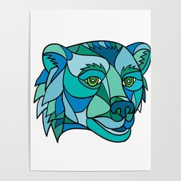 Grizzly Bear Head Mosaic Poster
