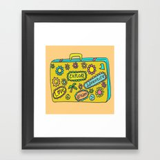 Let's Travel Retro Suitecase Framed Art Print