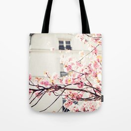 Cherry blossoms in Paris, Facades Tote Bag