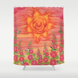 molten sun with hummingbirds and hollyhocks Shower Curtain
