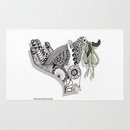 Zentangle Illustration - Peace Dove  Rug