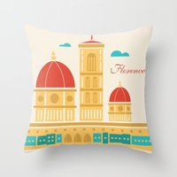florence Throw Pillows featuring Florence by Marina Design