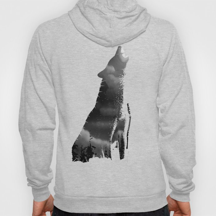 Bright Cloudy Night Sky in Black and White Hoody