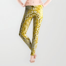 Yellow Zentangle Tile Doodle Design Leggings
