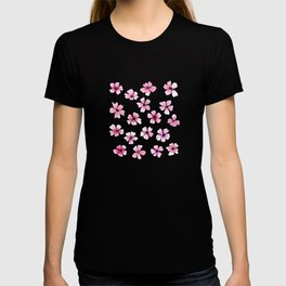 Loose pink flowers in hot pink background T-shirt