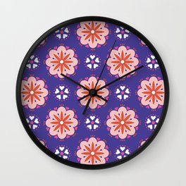 Pink and Orange Flowers Wall Clock