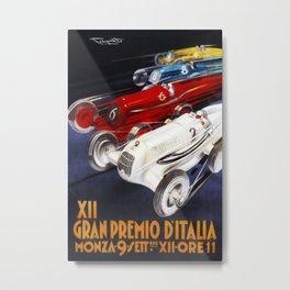 1934 12th Italian Grand Prix Grand Premio d'Italia Monza Plinio Codognato Vintage Poster Metal Print