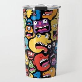 Monster Faces Pattern Travel Mug