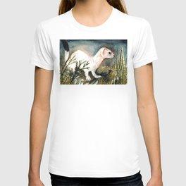 Winter stoat watercolor T-shirt
