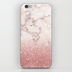 Elegant Faux Rose Gold Glitter White Marble Ombre iPhone Skin