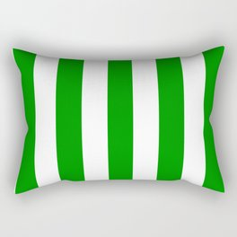 Islamic green - solid color - white vertical lines pattern Rectangular Pillow