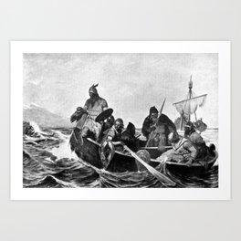 Vikings Landing in Iceland Illustration (1909) Art Print