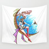 sailor moon Wall Tapestries featuring Sailor Moon by Nelson Rodrigues