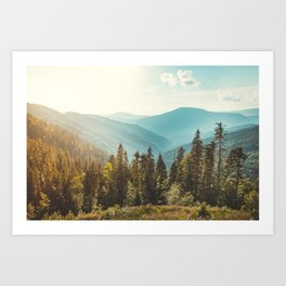Amazing mountain landscape with colorful vivid sunset on the cloudy sky, natural outdoor travel background. Beauty world. Art Print