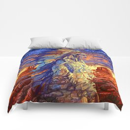 native american colorful portrait Comforters