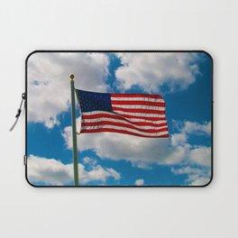 American Flag in Big Blue sky Laptop Sleeve