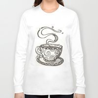 whisky Long Sleeve T-shirts featuring She drinks whisky in a tea cup by grishpradip