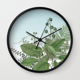Botanical Leaves and Ferns Digital Collage of Vintage Elements Wall Clock