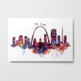 St Louis Watercolor Skyline Metal Print