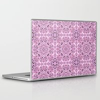 wallpaper Laptop & iPad Skins featuring Pink kaleidoscope wallpaper by David Zydd
