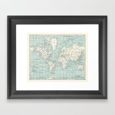 World Map in Blue and Cream Framed Art Print
