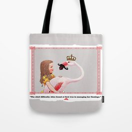 Alice and her Flamingo's mustache Tote Bag