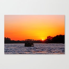 Sunset River Cruise in Africa Canvas Print