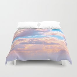 Beautiful Pink Cotton Candy Clouds Against Baby Blue Sky Fairytale Magical Sky Duvet Cover