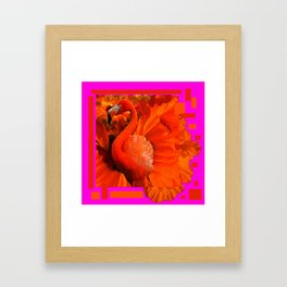 ART DECO  Saffron Flamingo Orange  Fuchsia Fantasy Painting Framed Art Print