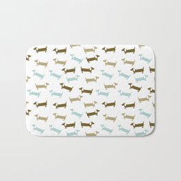 Dachshunds in blue and brown Bath Mat