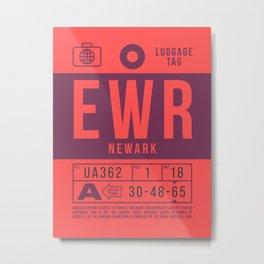 Luggage Tag B - EWR Newark USA Metal Print