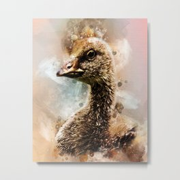 Watercolor Gosling Greylag Goose Metal Print