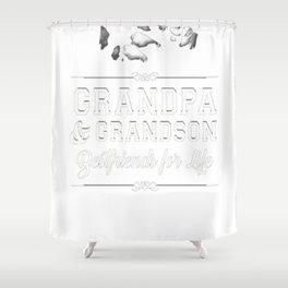 Men's Grandfather Grandson Friends Fist Bump Shirt Grandpa Grandad Shower Curtain
