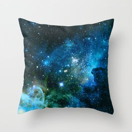 Carina Nebula Blue Turquoise Teal Green Throw Pillow