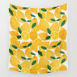 lemon mediterranean still life Wall Tapestry