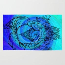 Lord Ganesha on Blue Spiral Rug