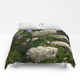 White Cluster Blossoms Comforters
