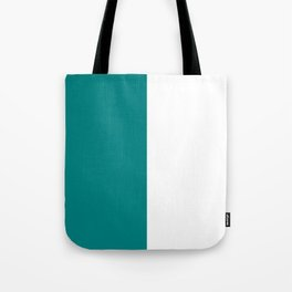 White and Dark Cyan Vertical Halves Tote Bag