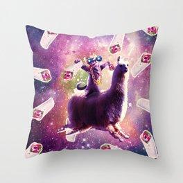 Thug Space Cat On Llama Unicorn - Burrito Throw Pillow