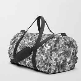 Silver Cyber Glow Neon Squares Pattern Duffle Bag