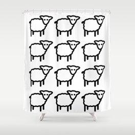 Cute Transparent Sheep Flock in Rows Monotone Light Shower Curtain