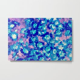 blooming blue flower abstract with pink background Metal Print