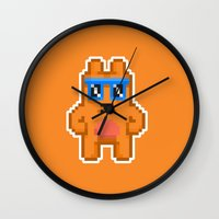 8bit Wall Clocks featuring 8Bit RaveBear by Bear Picnic