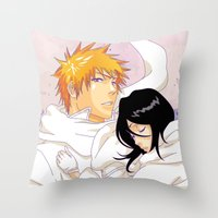 bleach Throw Pillows featuring Bleach: Ichigo X Rukia by Neo Crystal Tokyo